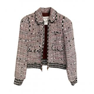 Chanel Ecru, Black & Red Hand Embellished Tweed Collectors Jacket