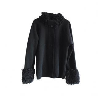Max Mara Black Wool & Alpaca Knit Jacket