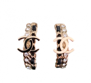 Chanel Crystal & Leather Chain Hoop CC Earrings