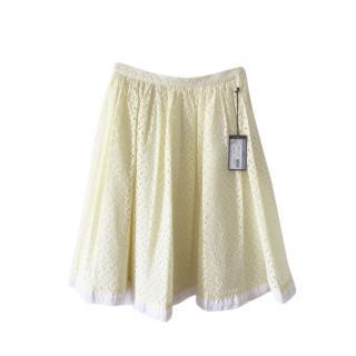 Prada Broderie Anglaise Pale Yellow Midi Skirt