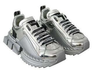 Dolce & Gabbana Metallic Silver Chunky Sneakers