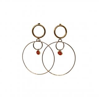 Maria Francesca Pepe Double Hoop Enamel Earrings