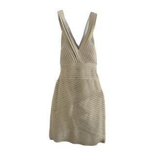 Pierre Balmain Gold Lame Fitted Mini Dress