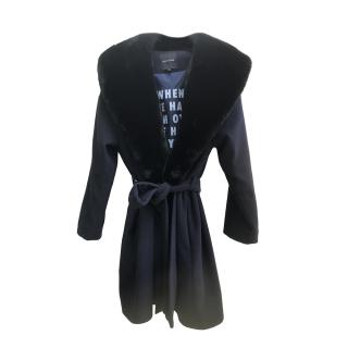 Each x Other Black Wool Coat with Removable Fur Collar