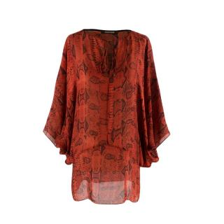 Roberto Cavalli Red Silk Snake Print Peasant Blouse