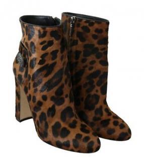 Dolce & Gabbana Leopard Calf hair ankle Boots