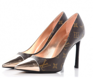 Louis Vuitton Rose Gold Tone Cherie Monogram Pumps