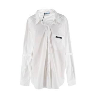 Prada White Cotton-Poplin Logo Applique Shirt
