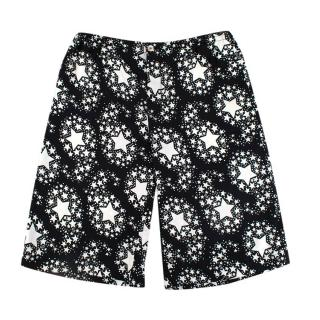 Gucci Black & Ivory Silk Twill Star Print Long Shorts