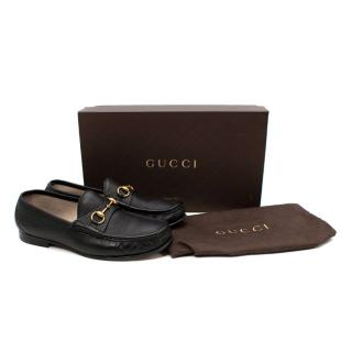 Gucci Vernice Naplack 1953 Black Grained Leather Horsebit Loafers