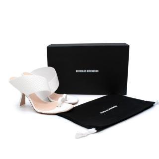 Nicholas Kirkwood Brasilia White Snake-Print Leather Heeled Sandals