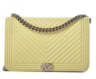 Chanel Chevron Leather Yellow Boy Wallet on Chain