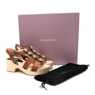Fabrizio Viti Linda Cognac Calfskin Leather Platform Sandals