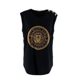 Balmain Black Sleeveless Gold Foil Coin Logo T-shirt