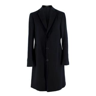 Salvatore Ferragamo Black Cashmere Velvet Trimmed Coat