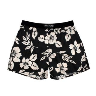 Tom Ford Black Tropical Floral Silk Satin Relaxed Shorts
