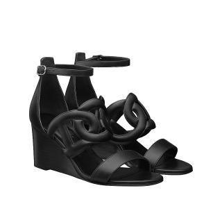 Hermes Black Nappa Leather Brisbane Wedge Sandals