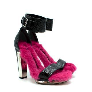 Alexander McQueen Black Embossed Croc Pink Fur Lined Heeled Sandals