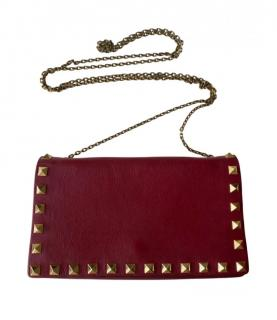 Valentino Rockstud Leather Clutch on Chain