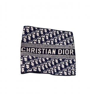 Dior Blue Oblique Cashmere & Wool Reversible Collar