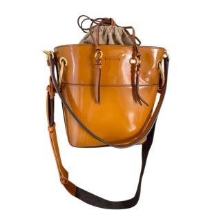 Chloe Patent Tan Leather Mini Roy Bucket Bag