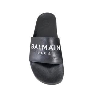 Balmain Black Leather Logo Slides