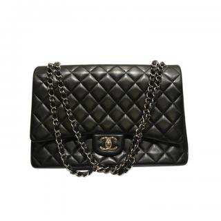 Chanel Black Quilted Leather Maxi Double Flap Bag
