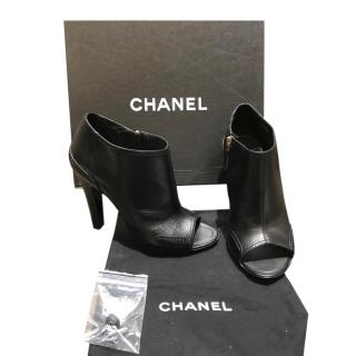 Chanel Black Leather Open Toe Ankle Boots
