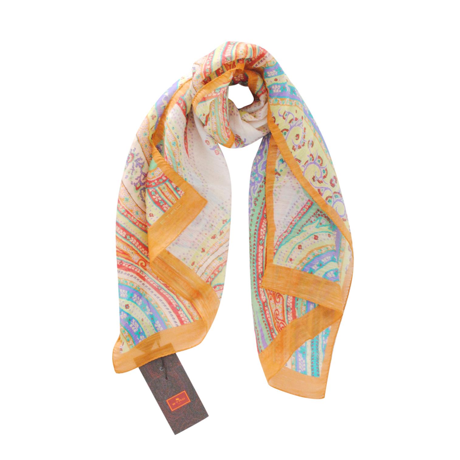 Etro Multicoloured Paisley Silk & Linen Scarf