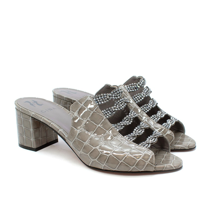 Gina Cosmos Grey Patent Croc Embossed Leather Crystal Heeled Mules