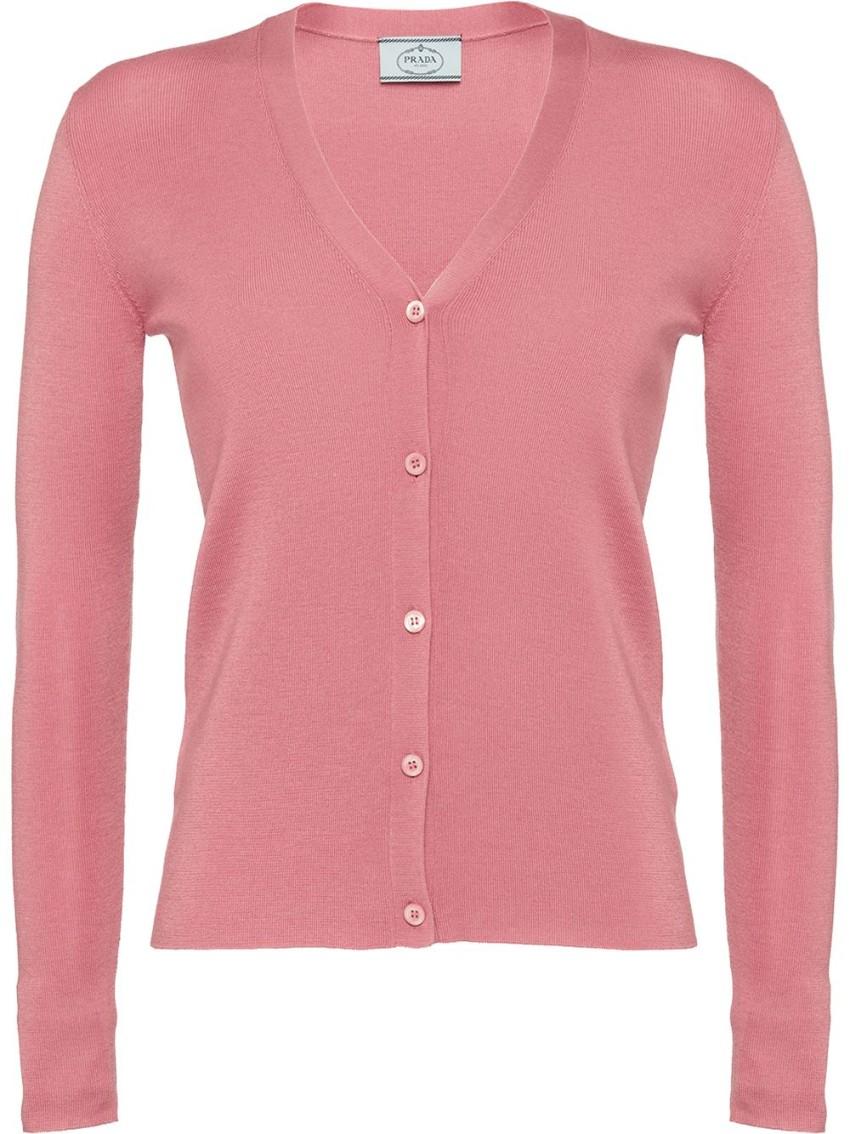 Prada Pink Cashmere & Silk Knit Cardigan