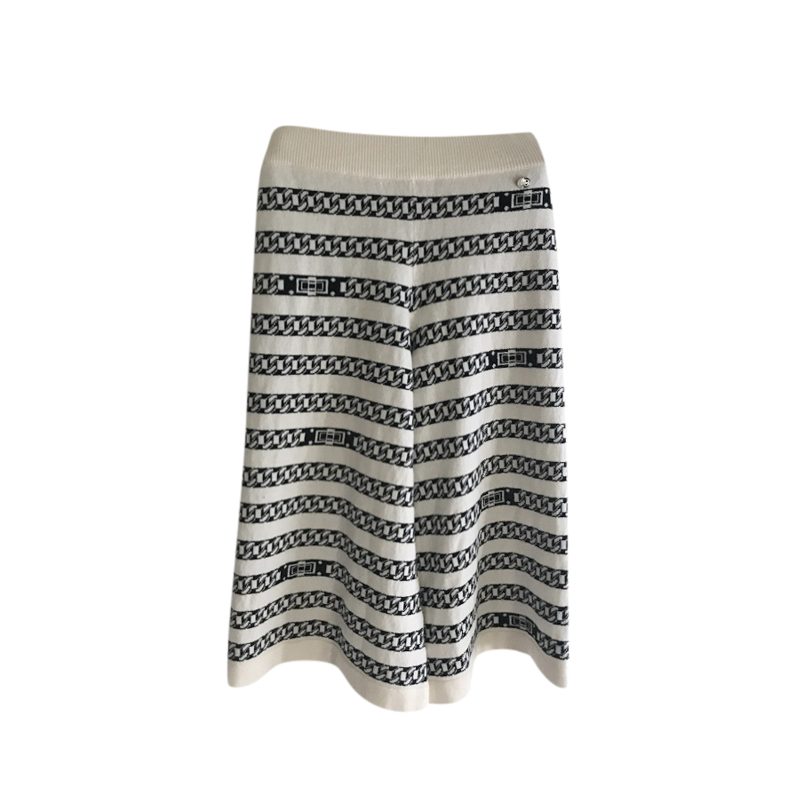 Chanel Ivory Chain Link Intarsia Cashmere Knit Culottes