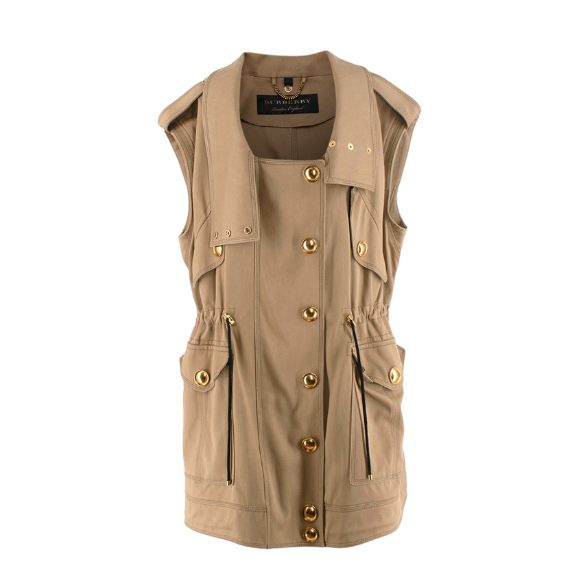 Burberry Prorsum Sand Oversize Sleeveless Trench Coat