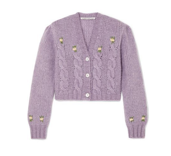 Alessandra Rich Lilac Floral Applique Cropped Wool Cardigan