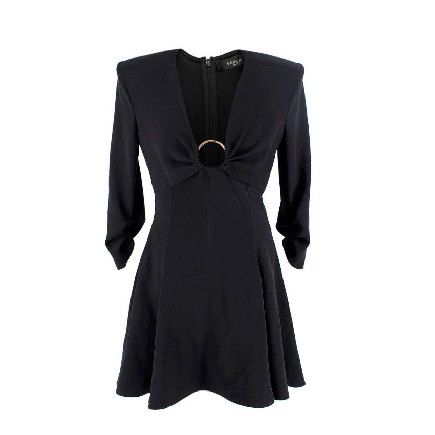 Versace Black Deep V Structured Shoulder Mini Dress