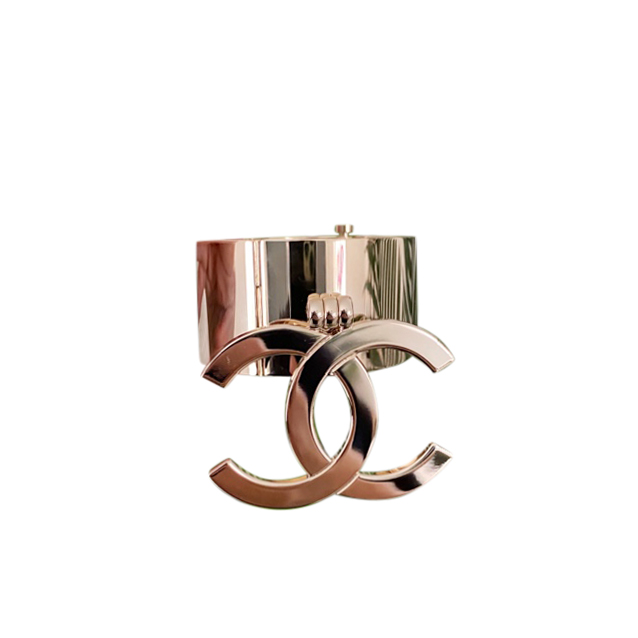 Chanel Sold Out Gold Tone CC Drop Cuff