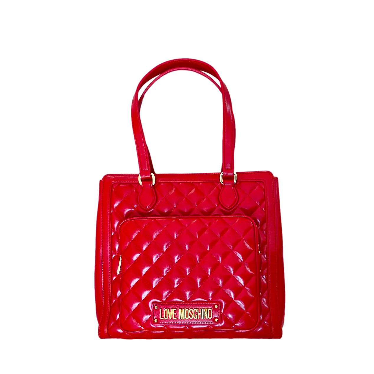 Love Moschino Cherry Red Quilted Patent Tote