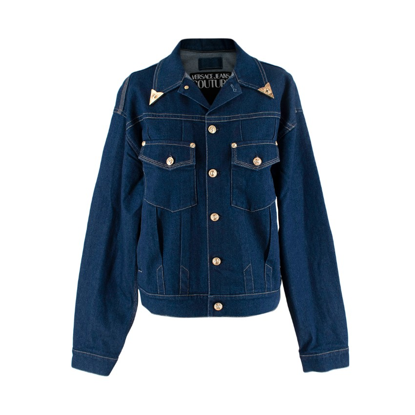 Versace Jeans Couture Gold-Tone Collar Tip Denim Jacket