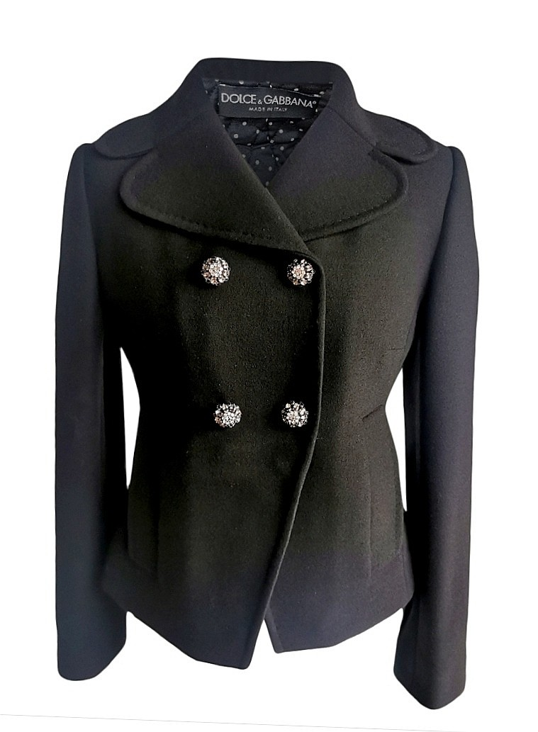 Dolce & Gabbana Satin Lined Wool Tailored Jacket