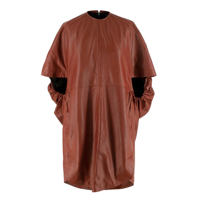 Petar Petrov Aurora Cognac Leather Short Sleeve Dress