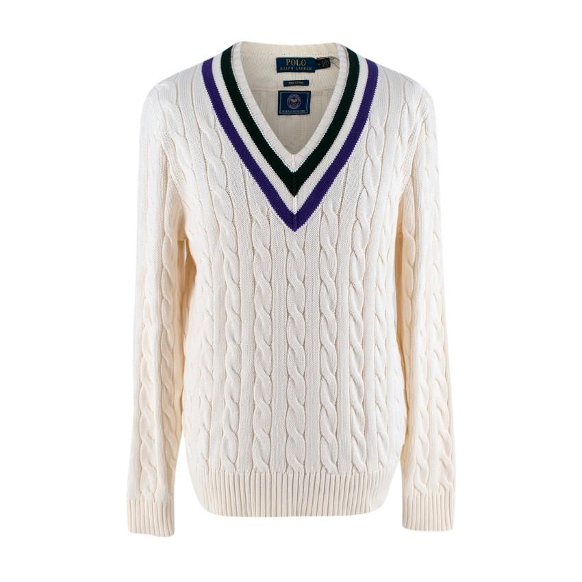 Polo Ralph Lauren Wimbledon Cream Cable Knit Cricket Sweater