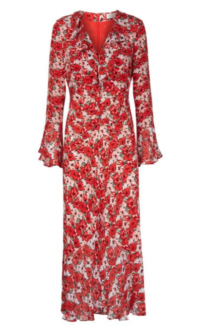 Rixo Red Floral Print Coleen Ruffled Midi Dress