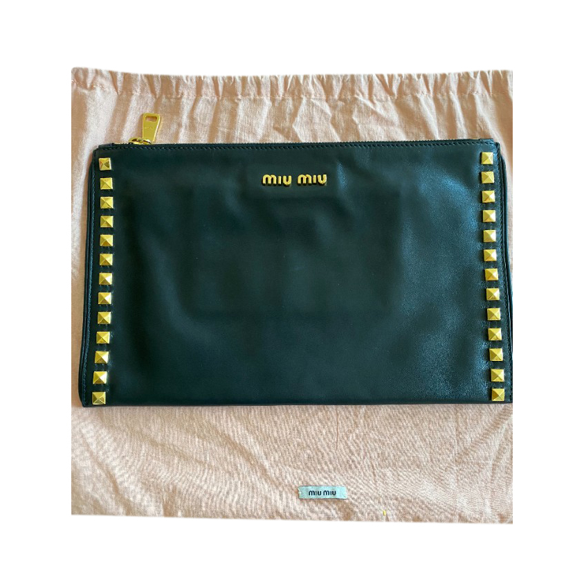 Miu Miu Black Studded Zip Pouch