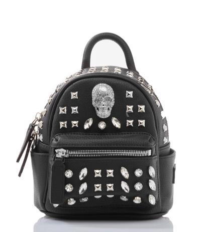 Philipp Plein Black Shiny Skull Studded Mini Backpack