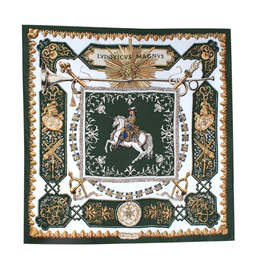 Hermes Vintage Ludovicus Magnus Silk Twill Deep Green & Ivory Scarf