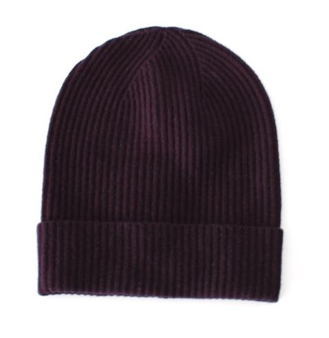 Max Mara Ribbed Cashmere & Wool Navy Beanie Hat