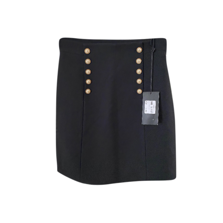 Gucci Faux Pearl Button Embellished A-Line Skirt