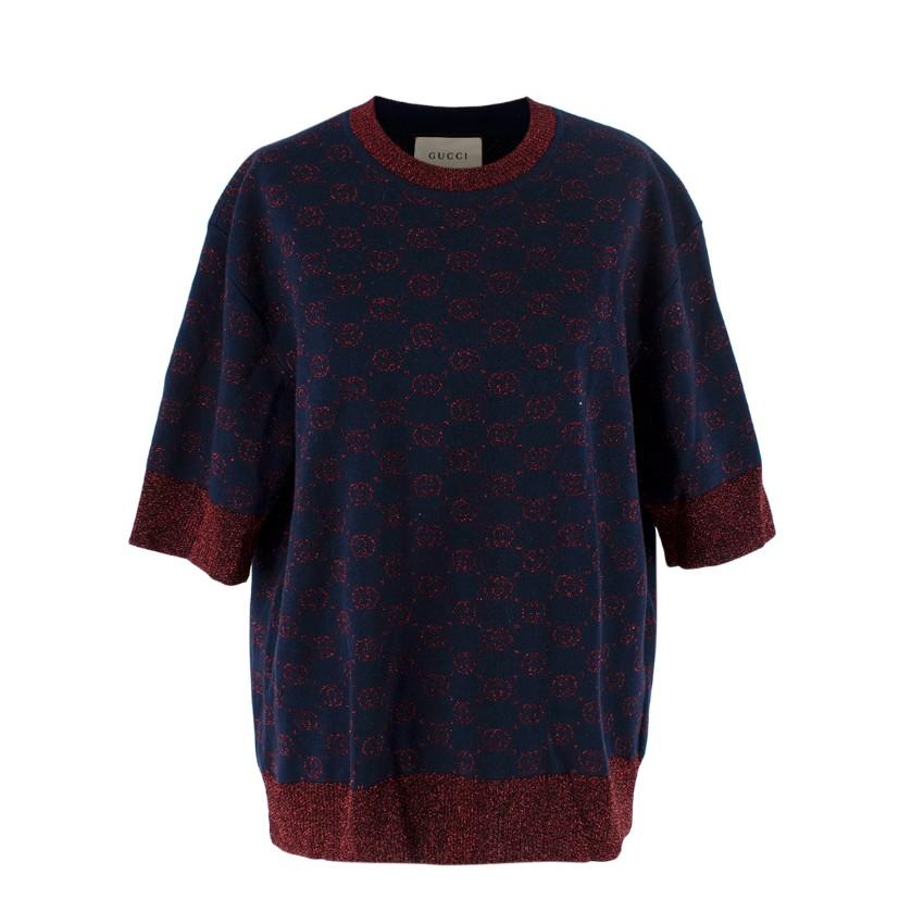 Gucci Navy & Red Lurex Intarsia Monogram Short Sleeve Sweater