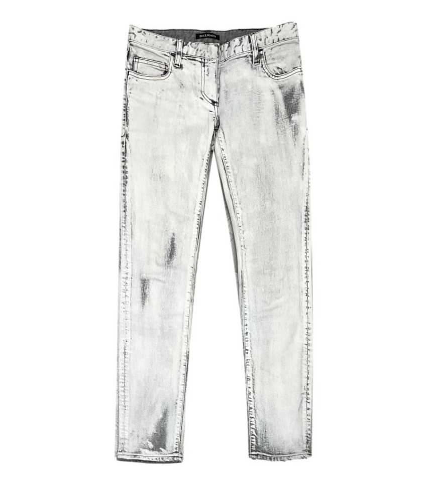 Balmain Washed Grey Classic Skinny Jeans