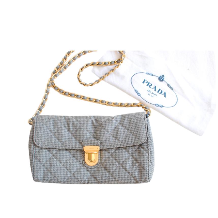Prada Grey Quilted Houndstooth Shoulder Bag